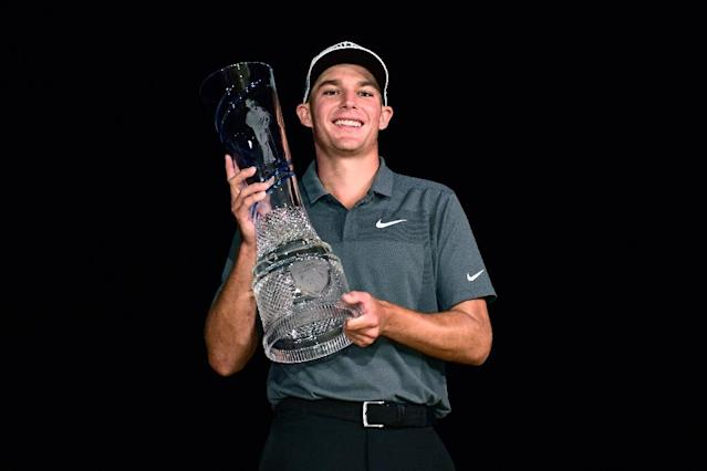Aaron Wise, who started the day tied for the lead, took full advantage of the ideal scoring conditions firing six birdies in a six-under 66 to win the Byron Nelson by three strokes (AFP Photo/Jared C. Tilton)