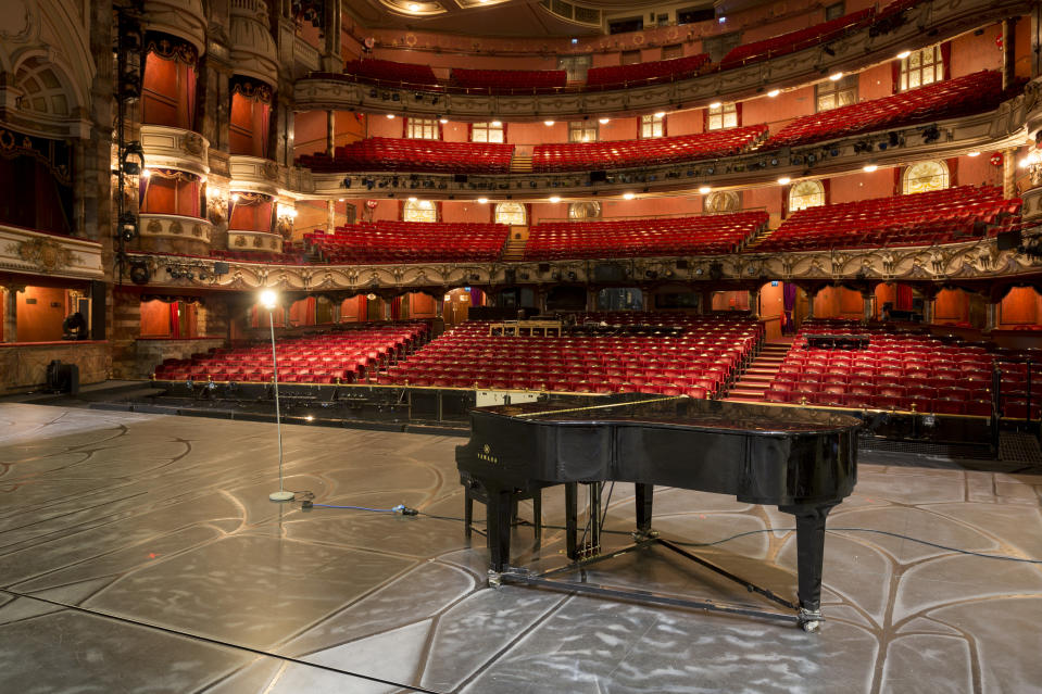 The empty auditorium of the London Coliseum, home of English National Opera ENO, remains closed for performances during the Coronavirus pandemic lockdown, on 7th July 2020, in London, England. The UKs theatre ticket revenue contributes £1.28bn to the nations economy, in which there are 290,000 jobs (70% are at risk) so the government has announced a financial rescue package for the Arts industry, a £1.15bn support for cultural organisations in England that is made up of £880m in grants and £270m of repayable loans. But theatre and opera companies such as ENO, whose last performance was The Marriage of Figaro on 14th March, will stay closed for the foreseeable future until there are changes in social distance and safety guidelines. The 2,395-seat Coliseum (1904) is a Baroque revival (Wrenaissance) style theatre, built as one of West End's largest and most luxurious variety theatres. (Photo by Richard Baker / In Pictures via Getty Images)