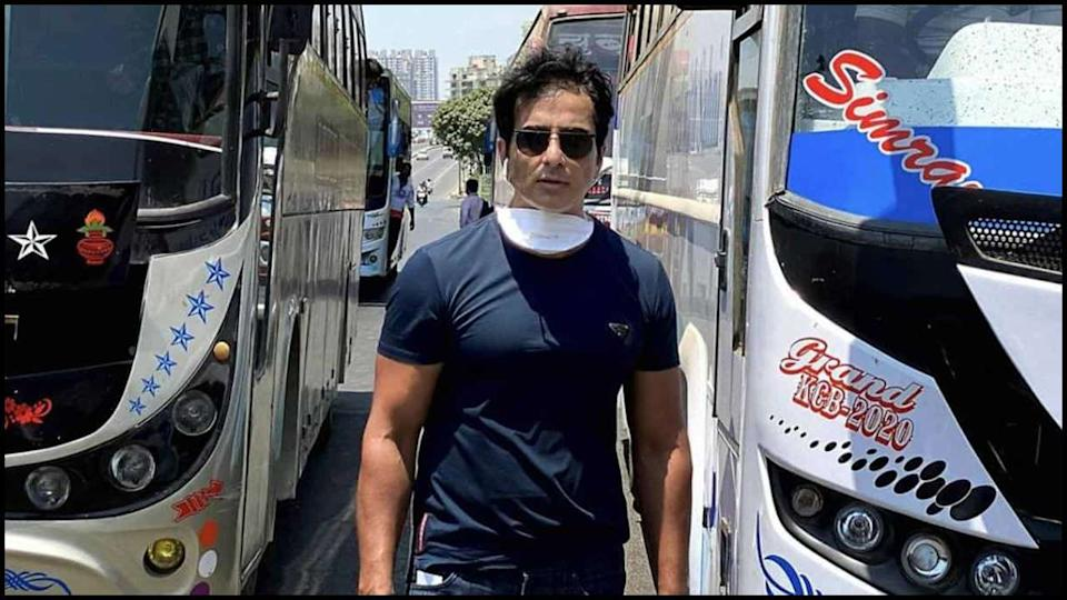 Actor Sonu Sood arranges buses for migrant workers to travel from Mumbai to  their hometown in UP and Bihar