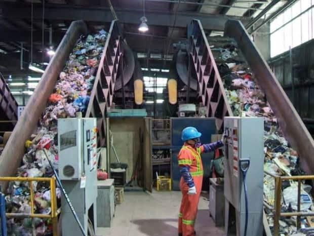 The conveyors for the front-end processor at the Otter Lake landfill are shown. (Halifax Regional Municipality - image credit)