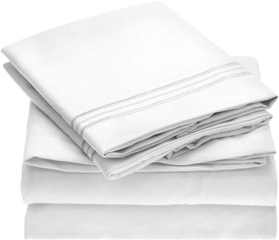 """These are so amazing, comfy and fantastic that they have nearly 168,000 five-star reviews on Amazon.<br /><br /><strong>Promising review:</strong>""""I am a self proclaimed sheet snob. If it wasn't at least 600-thread count Egyptian cotton, I was not interested. But being at the age where I get hot flashes and night sweats, and have teenage children who use Proactiv, I read the many reviews and thought, 'Why not? These are inexpensive and are peroxide resistant.' Oh my word. I'm telling you I have not slept so well in my 51 years than I have on these super soft, comfortable sheets. I ended up ordering them for all of our beds. Guests comment on how nice they are and how they keep them comfy, yet cool (no more night sweats with these!) Seriously, you need to try them because they are truly THAT GOOD! I LOVE these sheets!"""" — <a href=""""https://www.amazon.com/gp/customer-reviews/R1GGL83PV8JDSR?&linkCode=ll2&tag=huffpost-bfsyndication-20&linkId=d37715ba7f36172b1f1aa9426f77ede0&language=en_US&ref_=as_li_ss_tl"""" target=""""_blank"""" rel=""""noopener noreferrer"""">MomofFour</a><br /><br /><strong><a href=""""https://www.amazon.com/Mellanni-Bed-Sheet-Set-Hypoallergenic/dp/B00O35CWQ8?th=1&linkCode=ll1&tag=huffpost-bfsyndication-20&linkId=4a70b079dd7e7ce67096ae563a41a15e&language=en_US&ref_=as_li_ss_tl"""" target=""""_blank"""" rel=""""noopener noreferrer"""">Get it from Amazon for $29.97+(available in twin XL, split king, twin-California king, and in 42 colors/patterns).</a></strong>"""