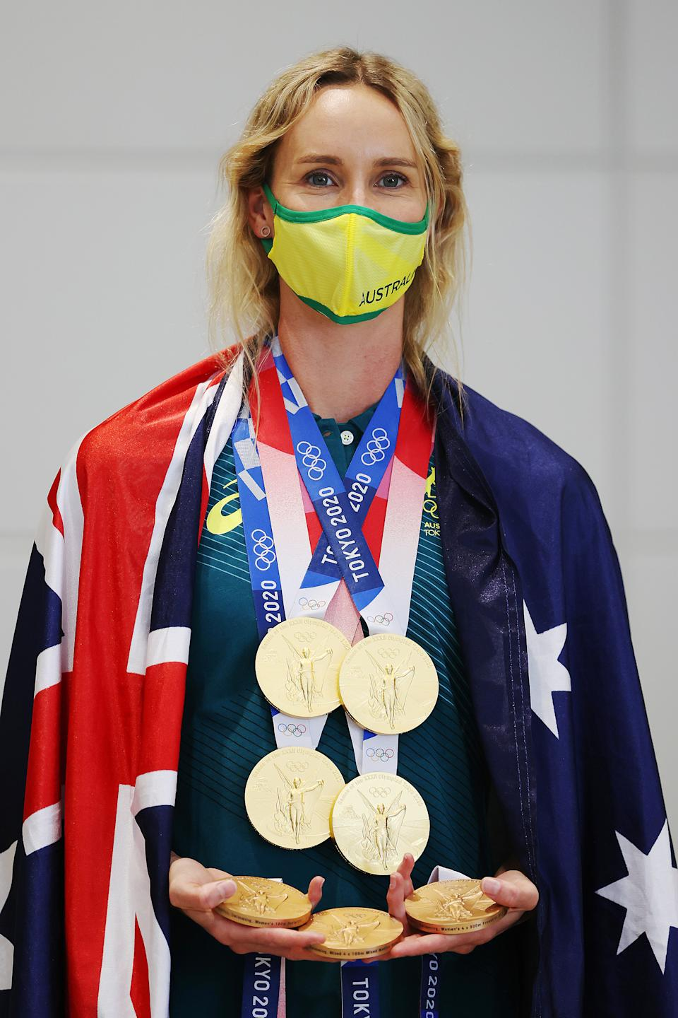 <p>Emma McKeon of Team Australia poses for a photo with her seven Olympics medals after the Australian Swimming Medallist press conference on day ten of the Tokyo Olympic Games on August 02, 2021 in Tokyo, Japan. (Photo by James Chance/Getty Images)</p>