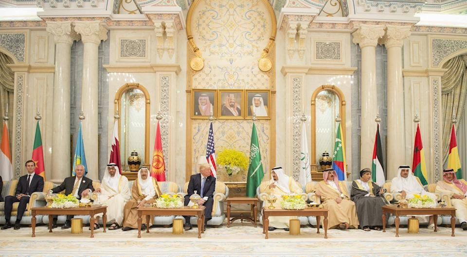 Trump (fifth from left); King Salman (fifth from right); Gen.Sheikh Mohammed bin Zayed Al Nahyan (third from left), the crown prince of Abu Dhabi; King of Bahrain Hamad bin Isa Al Khalifa (fourth from right); Kuwaiti Emir Sheikh Jaber al-Ahmad al-Sabah (fourth from left); Emir of Qatar Sheikh Tamim bin Hamad Al Thani (second from right); and Sayyid Fahd bin Mahmoud al Said (third from right), deputy prime minister of the Sultanate of Oman, are seen during the U.S.-Gulf Summit at King Abdul Aziz International Conference Center in Riyadh on May 21, 2017.