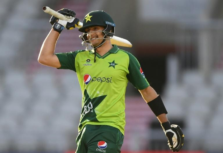 Pakistan's Haider Ali celebrates reaching his half-century against England