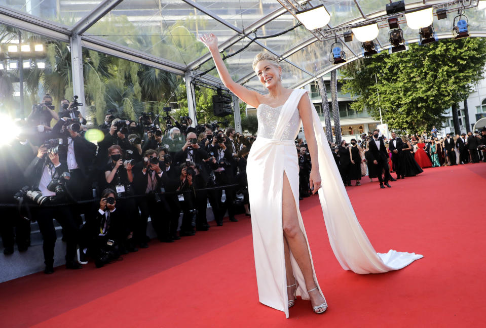 Sharon Stone poses for photographers upon arrival at the awards ceremony and premiere of the closing film 'OSS 117: From Africa with Love' at the 74th international film festival, Cannes, southern France, Saturday, July 17, 2021. (Photo by Vianney Le Caer/Invision/AP)