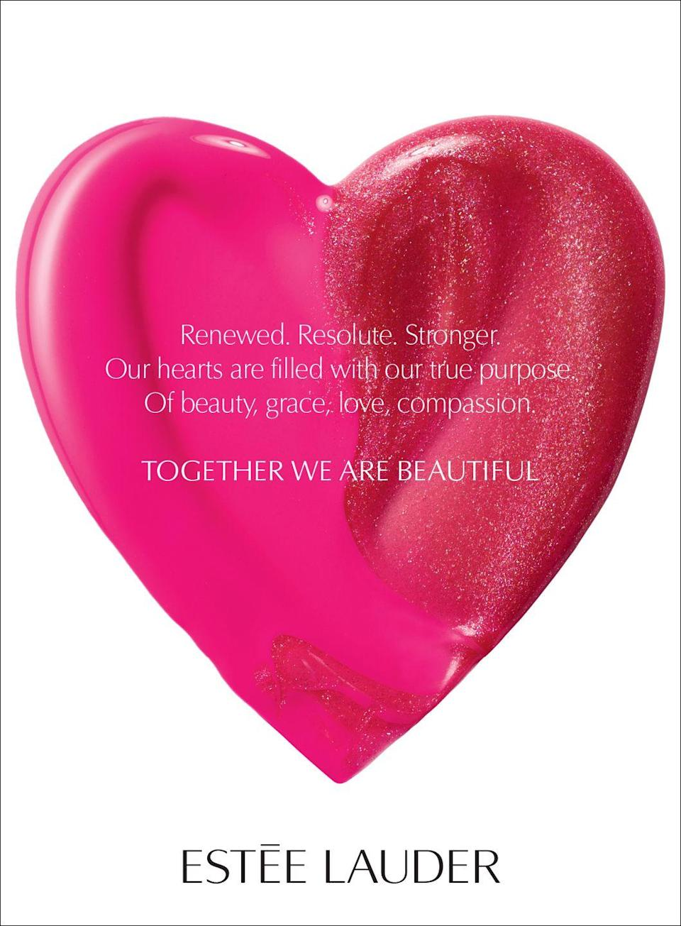 <p>Renewed. Resolute. Stronger. Our hearts are filled with our true purpose. Of beauty, grace, love, compassion.</p><p>Together we are beautiful. </p>