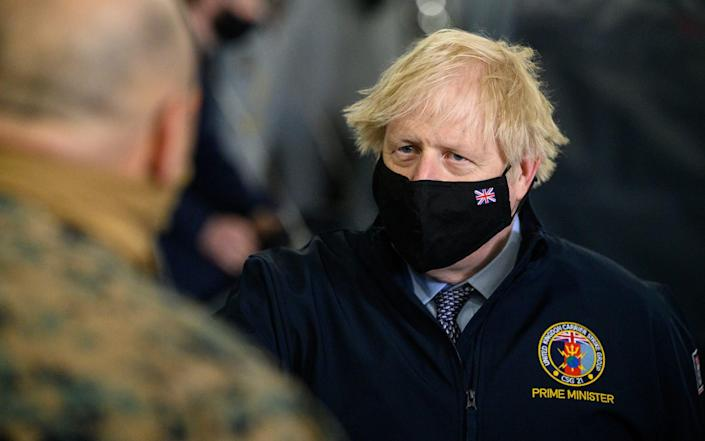The Prime Minister visiting HMS Queen Elizabeth aircraft carrier in Portsmouth today - Leon Neal/Getty Images