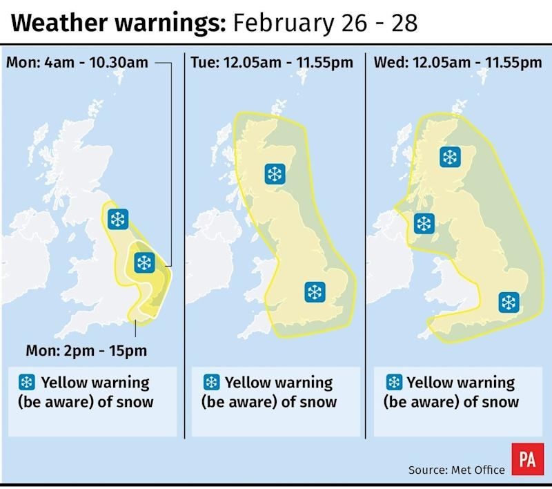 <strong>The Met Office has issued a yellow warning for snow.</strong> (PA)