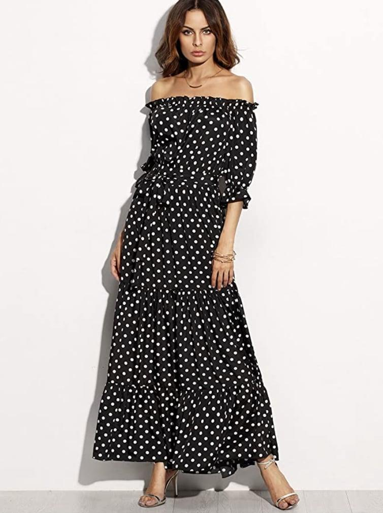 <p>Show off your shoulders in this flowy <span>R.Vivimos Polka-Dot Long Dress</span> ($20-$27). </p>