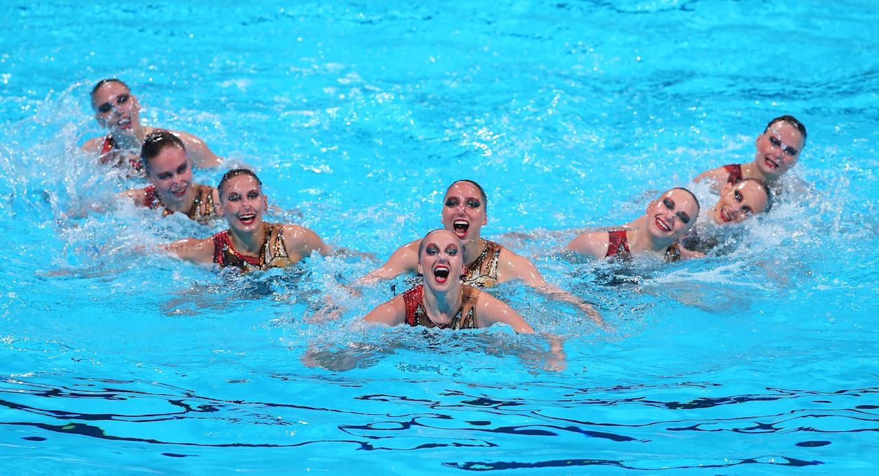 BARCELONA, SPAIN - JULY 23: Russia compete in the Synchronized Swimming Team preliminary round on day four of the 15th FINA World Championships at Palau Sant Jordi on July 23, 2013 in Barcelona, Spain. (Photo by Alexander Hassenstein/Getty Images)