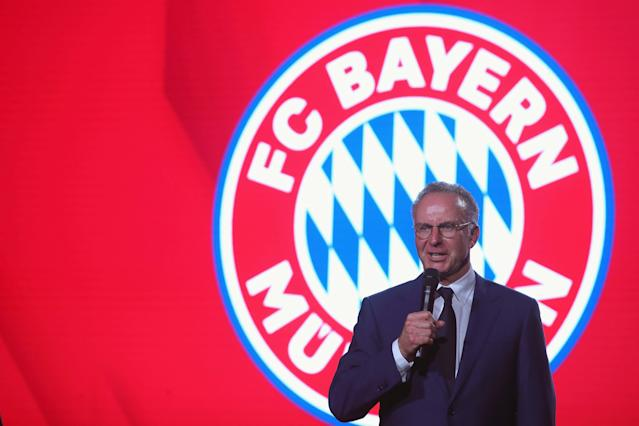 Bayern Munich's CEO Karl-Heinz Rummenigge gives a speech while celebrating winning the Bundesliga trophy at the Nockherberg beer garden in Munich, Germany, May 12, 2018. Picture taken May 12, 2018. Alexander Hassenstein/Pool via Reuters