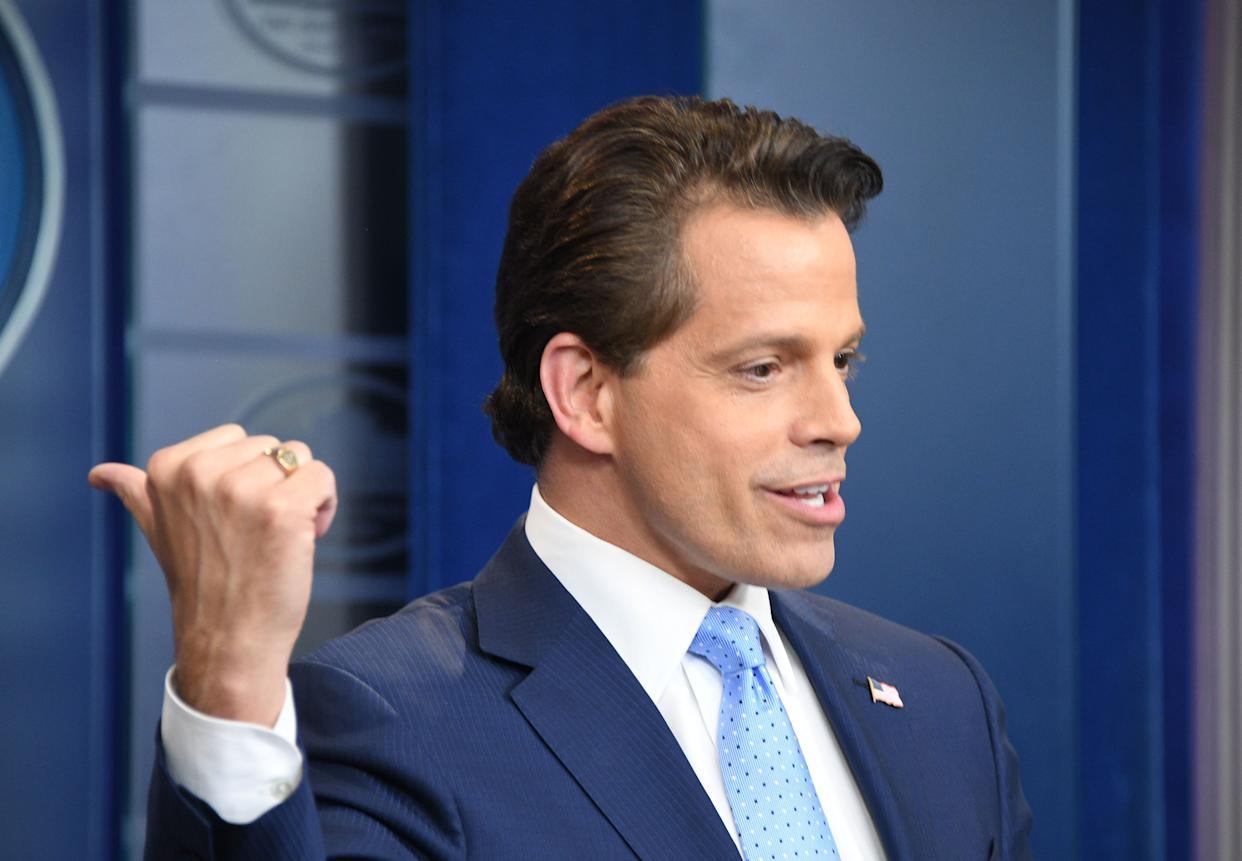 Scaramucci speaks during a press briefing at the White House on July 21, 2017.
