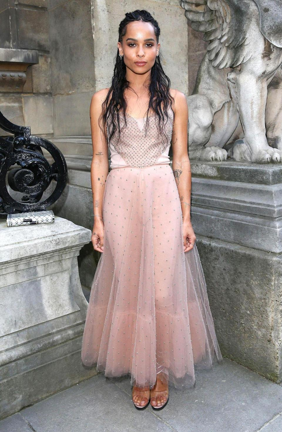 <p>Zoe Kravitz was a vision in pink as she attended the Valentino show. <i>[Photo:LaurentVu/SIPA/REX/Shutterstock]</i></p>