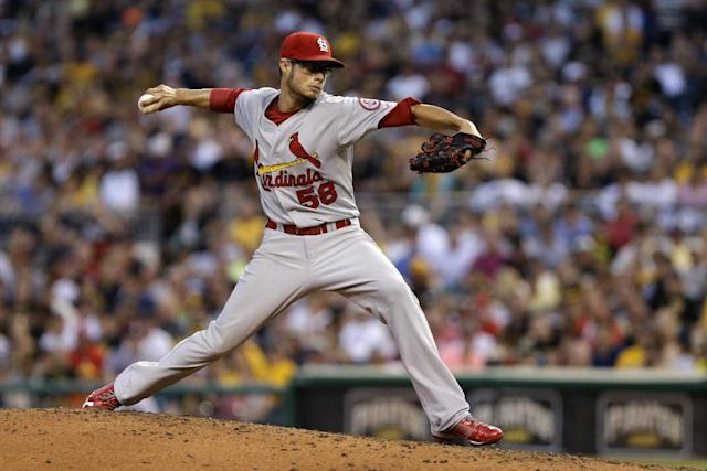 St. Louis Cardinals pitcher Joe Kelly delivers during the fourth inning of a baseball game against the Pittsburgh Pirates in Pittsburgh Thursday, Aug. 1, 2013. (AP Photo/Gene J. Puskar)