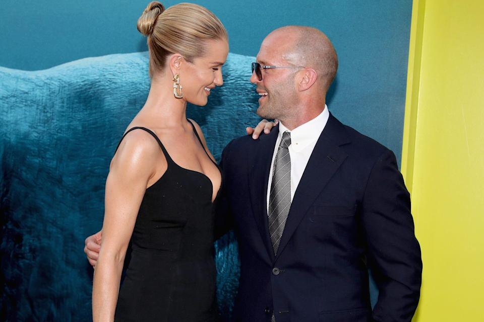 Rosie Huntington-Whiteley and Jason Statham in 2018. The couple have a son, Jack, 4.