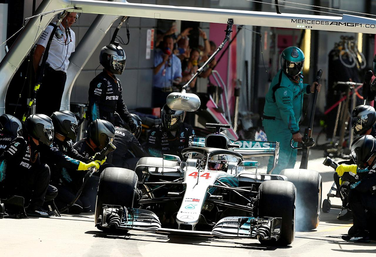 FILE PHOTO: Formula One F1 - British Grand Prix - Silverstone Circuit, Silverstone, Britain - July 8, 2018   Mercedes Lewis Hamilton stops for tyres during the race   REUTERS/Andrew Yates/File Photo