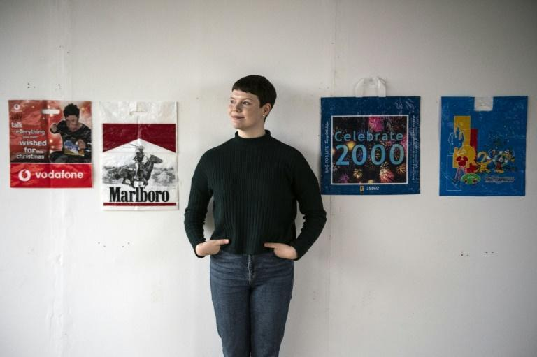 British artist Katrina Cobain, 24, collects plastic bags and plans to start a museum