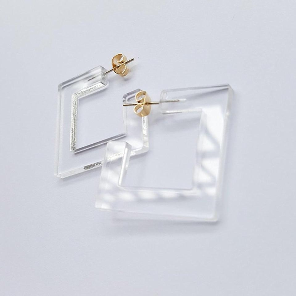 <p>These <span>Transparent Acrylic Earrings</span> ($9) will truly match everything.</p>