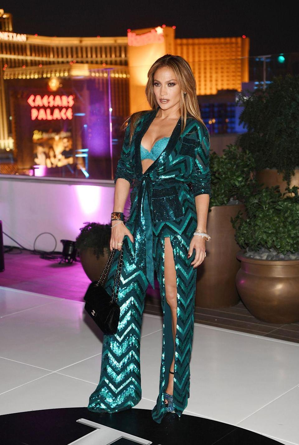 <p>J.Lo wore the green jumpsuit of dreams to celebrate her 47th birthday at Caesars Palace.</p>