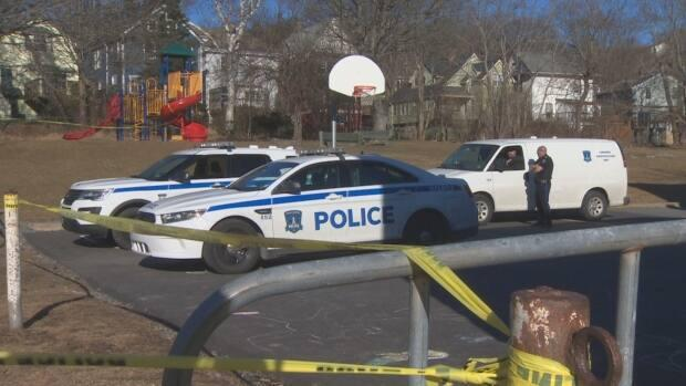 Police were called toa wooded area near Elliot Streetaround 10:30 a.m. AT Friday. (Dave Laughlin/CBC - image credit)