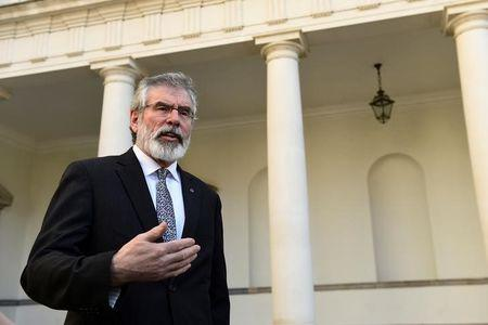 Sinn Fein president Gerry Adams speaks during an interview with Reuters at Government buildings in Dublin