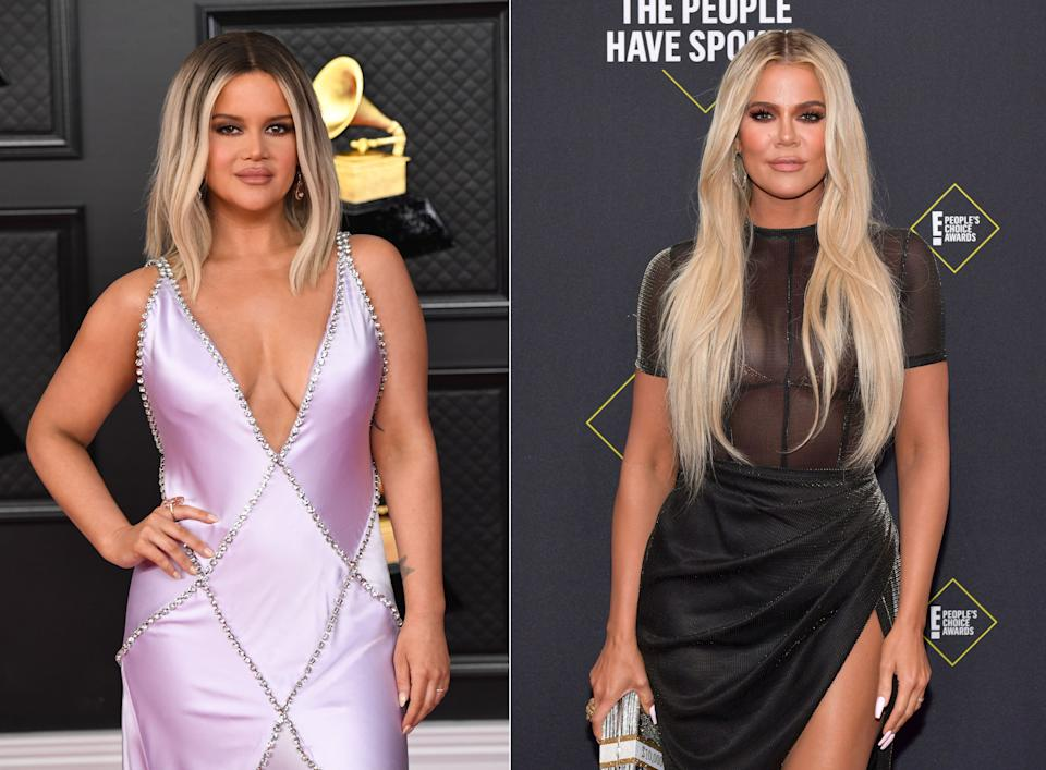 Ließ sich Maren Morris (links) für ihren Auftritt bei den diesjährigen Grammy Awards von Khloé Kardashian inspirieren? (Bilder: Phil McCarten/CBS via Getty Images; Rodin Eckenroth/WireImages)