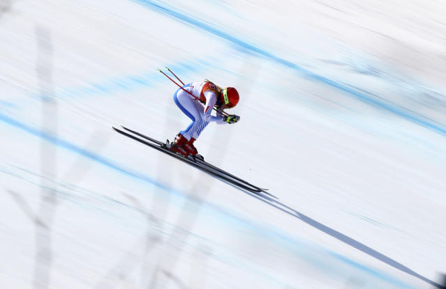 United States' Mikaela Shiffrin competes in the women's combined downhill at the 2018 Winter Olympics in Jeongseon, South Korea, Thursday, Feb. 22, 2018. (AP Photo/Alessandro Trovati)