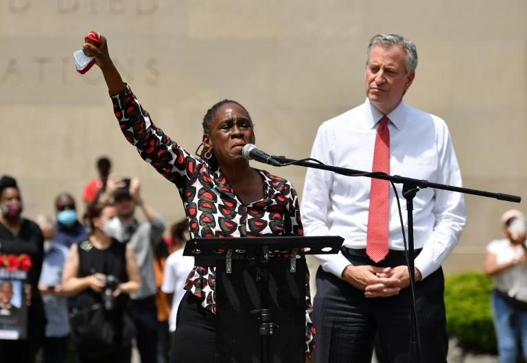 New York Mayor Bill de Blasio and his wife Chirlane McCray attend a memorial for George Floyd on June 4, 2020, in New York