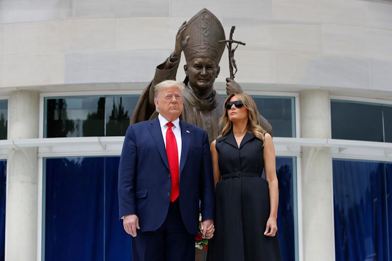 President Donald Trump and first lady Melania Trump visit Saint John Paul II National Shrine, June 2, in Washington. (Photo: (AP Photo/Patrick Semansky))