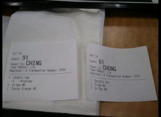 """Chick-Fil-A garnered national attention after a <a href=""""http://www.huffingtonpost.com/2011/12/13/chick-fil-a-ching-chong-r_n_1146266.html"""" target=""""_hplink"""">customer snapped a photo</a> of two receipts that had labeled Asian-American customers as 'Ching' and 'Chong'."""