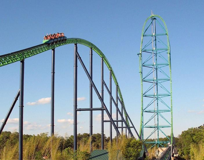 Currently the world's tallest roller coaster is the 456-foot-tall Kingda Ka at Six Flags Great Adventure in New Jersey. It will lose the crown to Falcon's Flight.