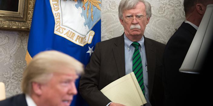 Bolton with Trump during a meeting in 2018.