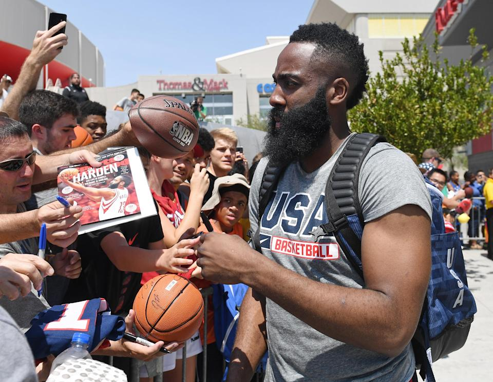 James Harden signs autographs for fans after a practice session at the Team USA Basketball minicamp Thursday in Las Vegas. (Getty)