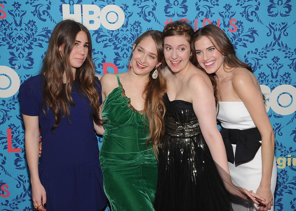 """Zosia Mamet, Jemima Kirke, Lena Dunham, and Allison Williams attend the premiere of HBO's """"<a target=""""_blank"""" href=""""http://tv.yahoo.com/girls/show/47563"""">Girls</a>"""" at the School of Visual Arts Theater on April 4, 2012 in New York City."""
