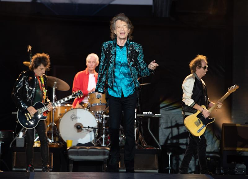 ORO STATION, ONTARIO - JUNE 29: (L-R) Ronnie Wood, Charlie Watts, Mick Jagger, and Keith Richards perform onstage as The Rolling Stones perform for the North American run of their 'NO FILTER' Tour at Burl's Creek Event Grounds on June 29, 2019 in Oro Station, Canada. (Photo by George Pimentel/Getty Images)