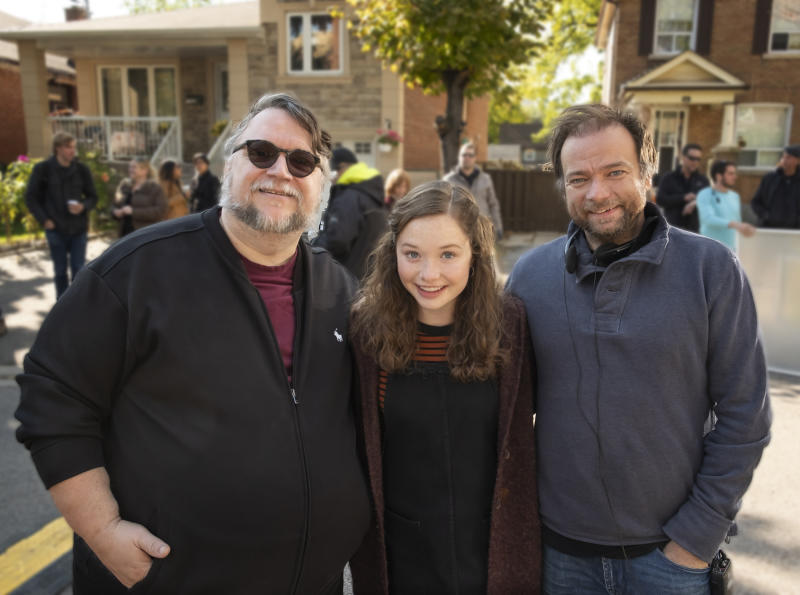 Guillermo Del Toro, Zoe Colletti and André Øvredal on the 'Scary Stories' set (Photo: George Kraychyk/CBS Films/Lionsgate)