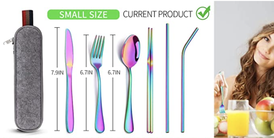 PHOTO: Amazon. Stainless Steel silverware Tableware Travel Set, Knife/Fork/Spoon/Straw