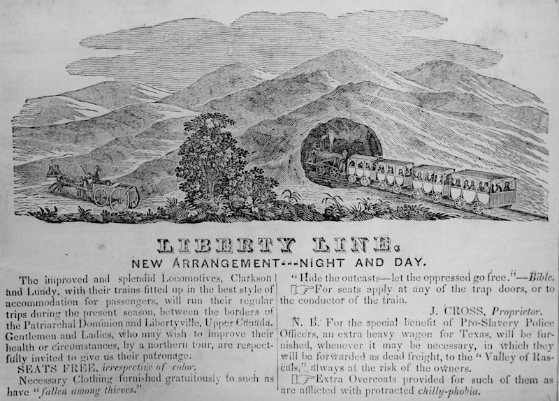 """An 1844 Chicago Western Citizen advertisement for the """"Liberty Line,"""" which is a thinly veiled reference to the Underground Railroad which has """"Seats Free, irrespective of color'"""" and travels 'between the Patriarchal Dominion and Libertyville, Upper Canada."""" The advertisement ran in Chicago, IL, 1844. (Photo: Chicago History Museum/Getty Images)"""
