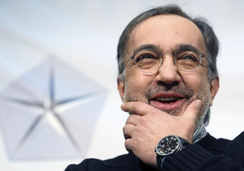 Chrysler CEO Marchionne answers questions from the media in downtown Detroit