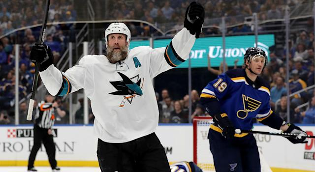 Joe Thornton has been a San Jose Sharks since 2005 and he doesn't want that to change if his NHL career continues. (Photo by Elsa/Getty Images)