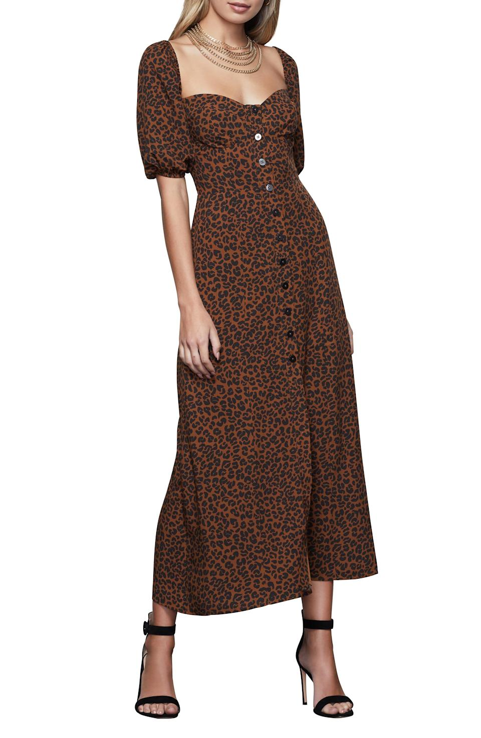 """<p><strong>GOOD AMERICAN</strong></p><p>nordstrom.com</p><p><strong>$127.20</strong></p><p><a href=""""https://go.redirectingat.com?id=74968X1596630&url=https%3A%2F%2Fwww.nordstrom.com%2Fs%2Fgood-american-corset-leopard-print-puff-sleeve-maxi-dress-regular-plus-size%2F5714920&sref=https%3A%2F%2Fwww.womenshealthmag.com%2Flife%2Fg36173394%2Fsummer-wedding-guest-dresses%2F"""" rel=""""nofollow noopener"""" target=""""_blank"""" data-ylk=""""slk:Shop Now"""" class=""""link rapid-noclick-resp"""">Shop Now</a></p><p>Who doesn't love a puff sleeve to elevate a look?! Best part: This Good American corset dress also comes in plus sizes!</p>"""