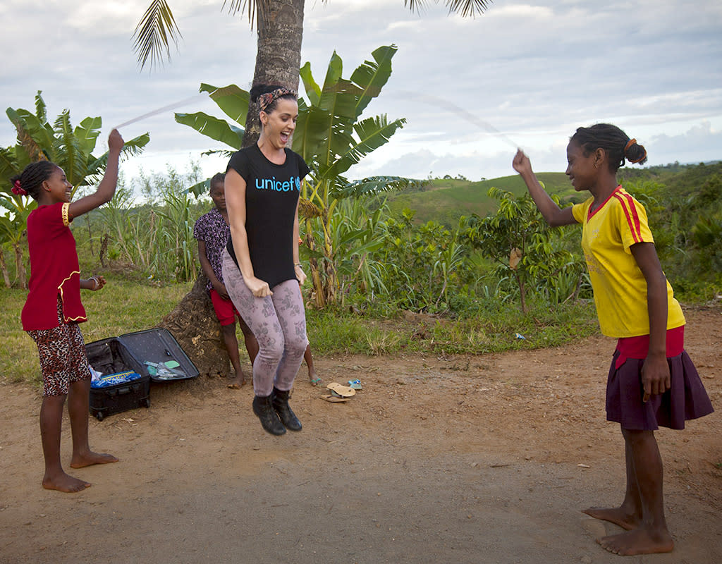 Singer Katy Perry has visited Madagascar in support of UNICEF. Katy visited some of the world's poorest children to bring attention to the political crisis the island has been facing since 2009. The pop star started her trip in a slum area of the capital Antananarivo, where she headed to a child protection centre to meet abused and abandoned kids and young mums receiving support and counselling.