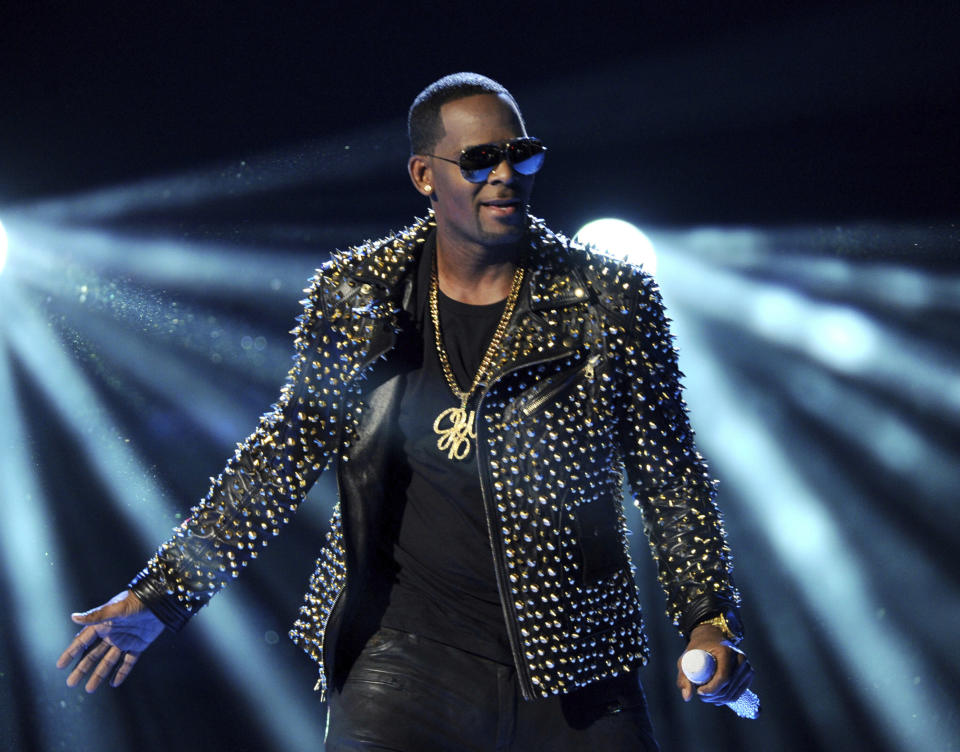 FILE - In this June 30, 2013, file photo, R. Kelly performs at the BET Awards in Los Angeles. Will conviction do to R. Kelly's music what years of allegations couldn't? A federal jury in New York convicted the R&B superstar Monday, Sept. 27, 2021, in a sex trafficking trial. (Photo by Frank Micelotta/Invision/AP, File)
