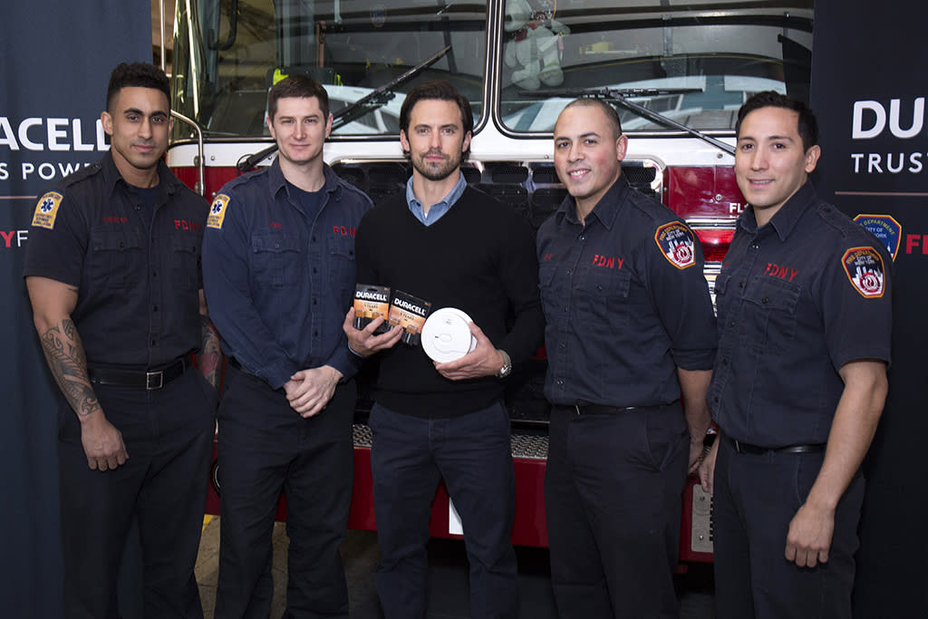 <p>We may never be over Jack Pearson's death, but the <em>This is Us</em> star is, at least, using our heartbreak fo a good cause. The actor teamed up with NYFD and Duracell on Thursday to remind everyone to replace the batteries in their smoke detectors when they change their clocks for Daylight Savings Time this Sunday. And while you're at it, put those Crock-Pots away, too. (Photo: Santiago Felipe/Getty Images) </p>