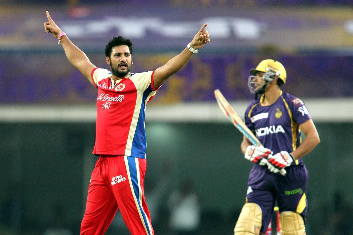 Ravi Rampaul of the Royal Challengers Bangalore celebrates getting Manvinder Bisla of Kolkata Knight Riders wicket in the first over during match 60 of the Pepsi Indian Premier League between The Kolkata Knight Riders and the Royal Challengers Bangalore held at the JSCA International Stadium Complex, Ranchi, India on the 12th May 2013. (BCCI)