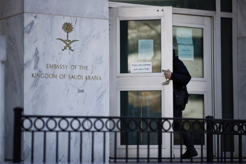 The embassy of Saudi Arabia is seen before the release of a CIA report on the death of journalist Jamal Khashoggi in Washington