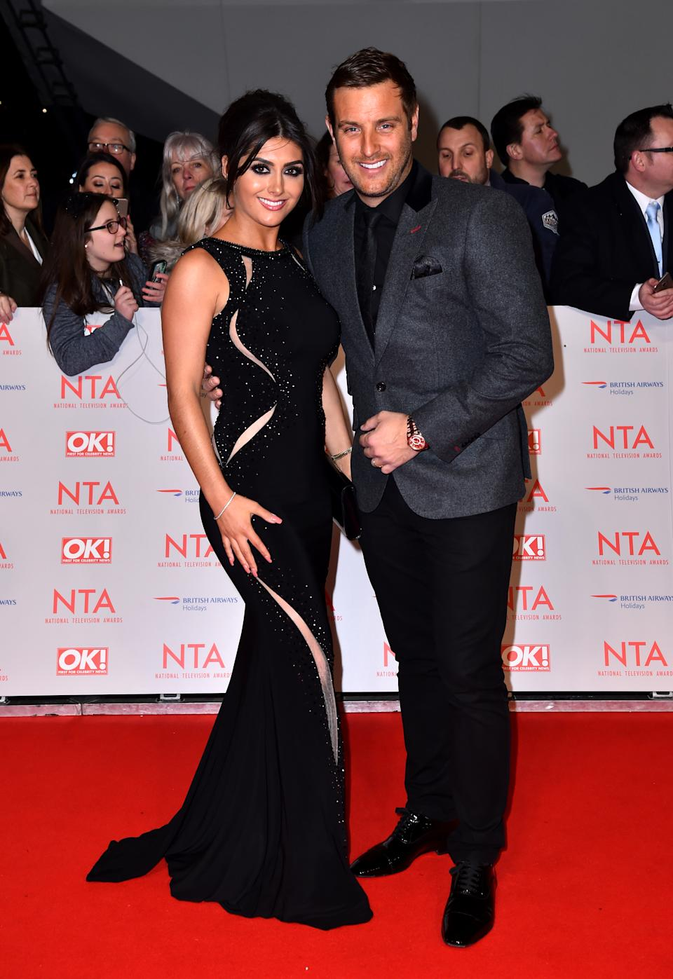 Sadie Stuart and Elliott Wright attending the National Television Awards 2018 held at the O2 Arena, London. PRESS ASSOCIATION Photo. Picture date: Tuesday January 23, 2018. See PA story SHOWBIZ NTAs. Photo credit should read: Matt Crossick/PA Wire (Photo by Matt Crossick/PA Images via Getty Images)