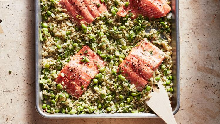 """<p>With just 15 minutes of prep work, six ingredients, and <a href=""""https://www.marthastewart.com/1532102/sheet-pan-supper-secrets"""">one sheet pan</a>, a healthy and colorful dinner is just around the corner. Wild-caught salmon and cauliflower are brightened with fresh cilantro leaves and lime wedges in this low-carb dinner.</p>"""