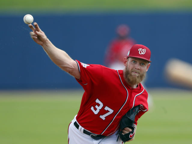 Washington Nationals starting pitcher Stephen Strasburg (37) works in the second inning of a spring training baseball game against the Miami Marlins Tuesday, March 20, 2018, in West Palm Beach, Fla. (AP Photo/John Bazemore)