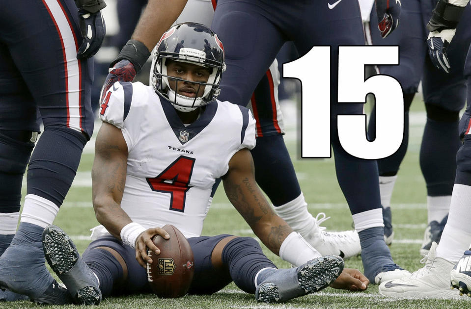 <p>There's no shame in losing at Foxborough. Still, Deshaun Watson did not have a good game. Chalk it up to a tough Week 1 matchup, but let's see how he looks in Week 2 at Tennessee. (Deshaun Watson) </p>